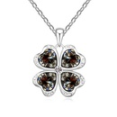 Austrian imitated crystal necklace  Four Leaf Heart Love Black Rhinestone 16702