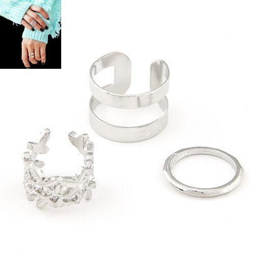 Occident fashion Sweet easy match metal leaves concise three-piece combination ring ( alloy ) 217654