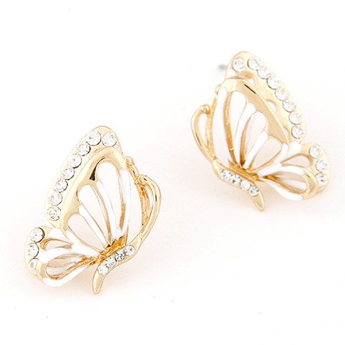 white  EXQUISITE Sweet gem the butterfly ear studs 218076