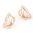 Pink EXQUISITE Sweet gem the butterfly ear studs 218077