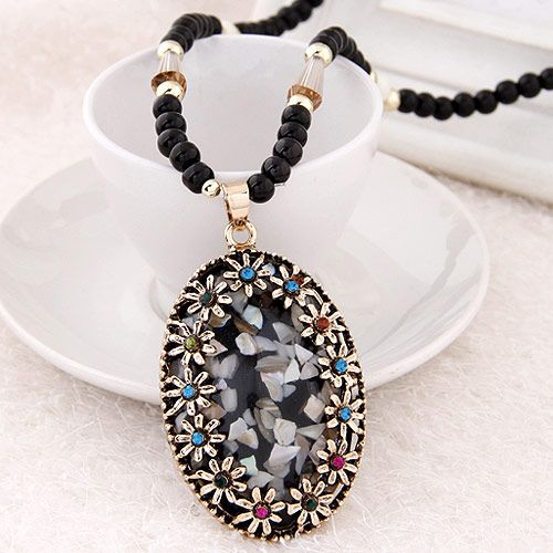 Multicolor shell pendant imitated crystal beads long necklace sweater chain 220147