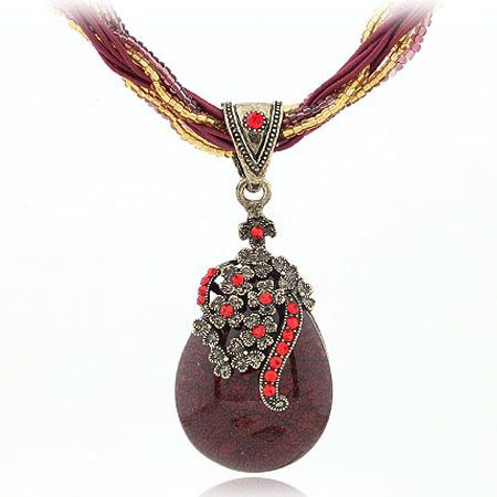 Handmade Bohemian style vintage chasing tear drop easy match necklace  purple  220086