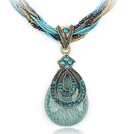 Handmade Bohemian style vintage easy match elegant tear drop necklace  blue  220040