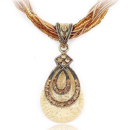 Handmade Bohemian style vintage easy match elegant tear drop necklace  yellow  220038