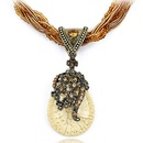 Handmade Bohemian style vintage chasing tear drop easy match necklace  yellow  220084