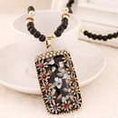 Multicolor shell pendant imitated crystal  beads long necklace sweater chain 220071