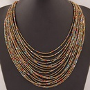 Occident fashion easy match Bohemian beads multilayer necklace  blue  219807
