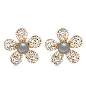 Austrian imitated crystal earrings  half flower dark gray NHKSE21511
