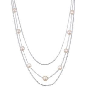 Austrian imitated crystal necklace  dotted multilayer white NHKSE21623