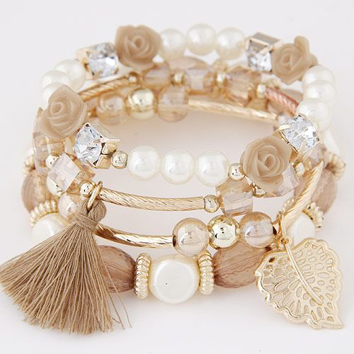 (Coffee) Occident  multilayer metal imitated crystal beads beads bracelet NHNSC0132