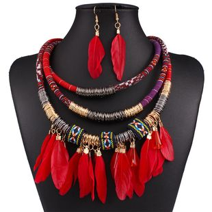 Occident end fashion multilayer alloy feather tassel necklace Earring Sets ( red ) NHNMD1067's discount tags