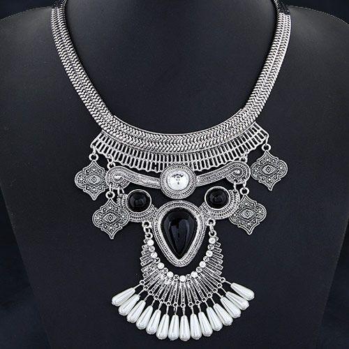 Occident fashion brand metal trendy gem tear drop vintage boast necklace ( alloy ) 220522