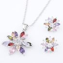 Brass white alloy shining dazzling Cubic Zirconia necklace ear studs set  colorful  220564