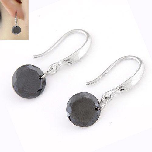 Sweet shining Cubic Zirconia unique earrings ( black ) 220346
