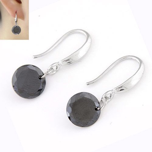 Sweet shining Cubic Zirconia unique earrings  black  220346