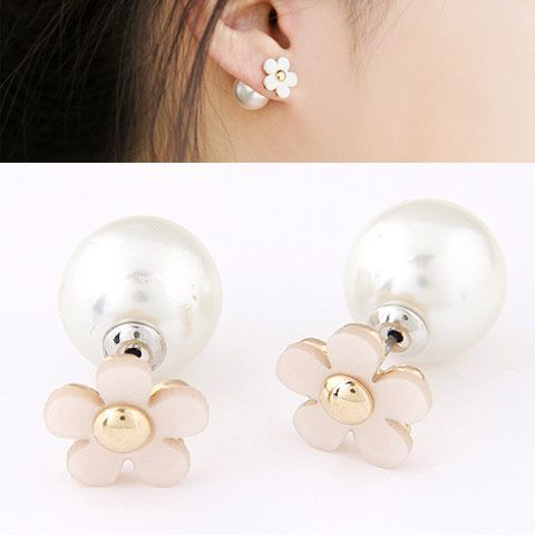 EXQUISITE Sweet OLbourgeois sentiment unique flower Beads ear studs ( white ) 220003