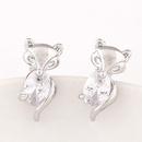 Korean fashion OL sweet little fox zircon earrings 221374