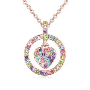 Austrian imitated crystal necklace  full of heart alloy + rose color 20514