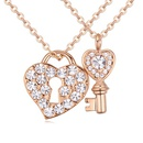 Austrian imitated crystal necklace Heart of the lock white 20197
