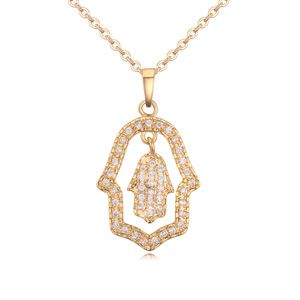 Micro Pave necklace AAA grade zircon  love palm 20128