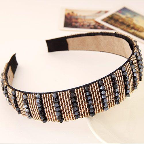 Korean fashion ladies wild hand-woven beaded headbands wide headband hair accessories 222463