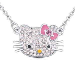 Austrian imitated crystal necklace  cute cat Light Rose 20770