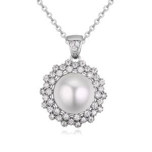 Micro AAA grade CZ stone beads necklace  flowers in clusters Platinum 20676