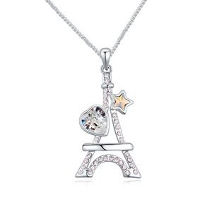 Austrian imitated crystal necklace  Eiffel Tower White 20586