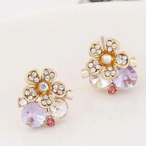 Korean fashion sweet flowers OL flash rhinestone earrings personality NH223196