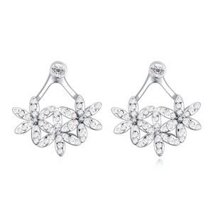 Austrian imitated crystal earrings  Mission flower clusters white NHKSE22235