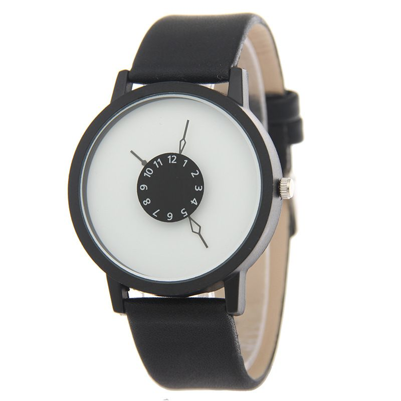 Leisure Ordinary glass mirror alloy watch (black) NHSY0603