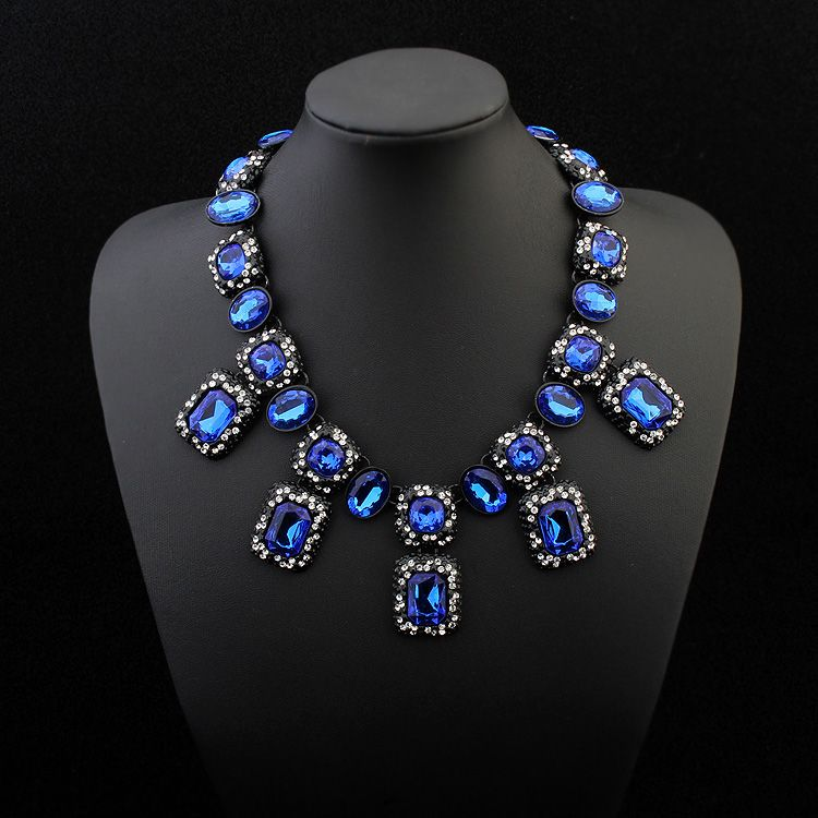 Occident and American fashion square necklace (sapphire blue) NHNPS1402