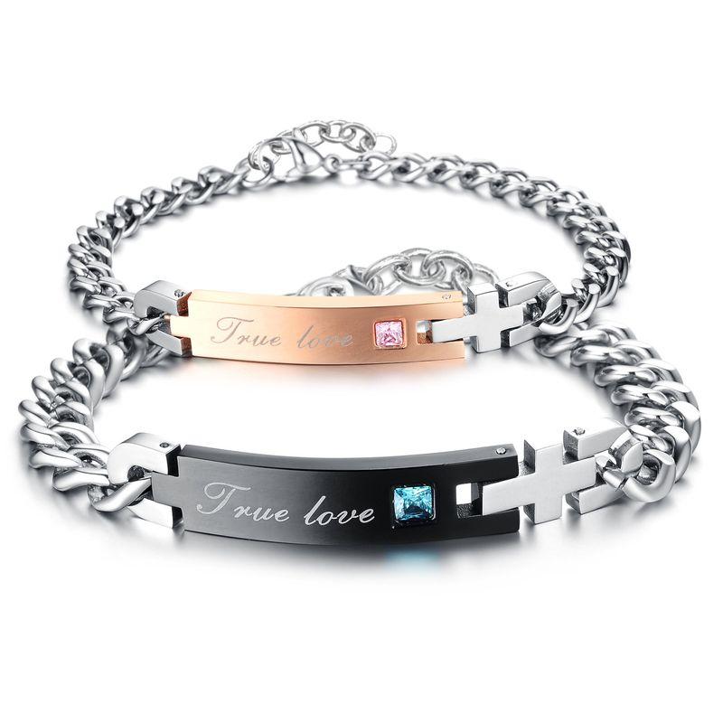 Korean version of Korean / Korean style Titanium steel Rhinestone Bracelet (Female models) NHOP0576