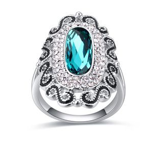 Austrian Imitated crystal Ring  Muyu drizzly blue color NHKSE23123 SIZE 9 US