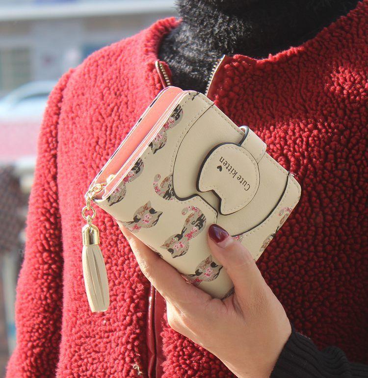 Cartoon cute PU leather Synthetic Leather fashion purse (creamy-white) NHNI0142