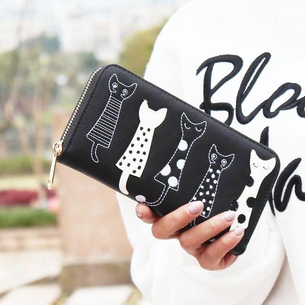 Cartoon cute PU leather Synthetic Leather fashion purse (black) NHNI0175