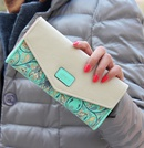Korean version of style PU leather Synthetic Leather fashion purse green NHNI0050