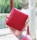Korean version PU leather Synthetic Leather fashion purse Dark red NHNI0138