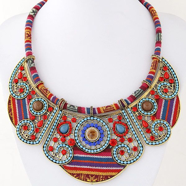 Alloy rope stones necklace NHNSC4668