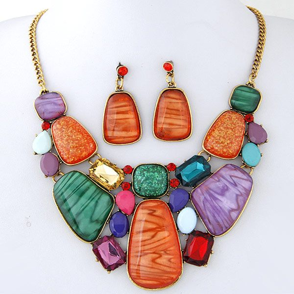 Alloy resin necklace NHNSC5043