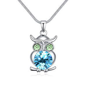 Austrian Imitated crystal Necklace  Owl Sea Blue NHKSE24398