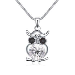 Austrian Imitated crystal Necklace  Owl White NHKSE24409