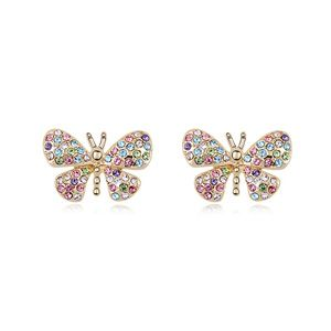 Austrian Imitated crystal Stud Earrings  Butterfly Lady Color NHKSE24353