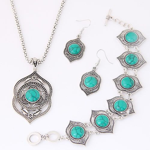 alloy   Turquoise necklace NHNSC1102