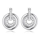 Austrian imitated crystal earrings  Love ring white NHKSE22545