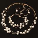 Korean sweet OL elegant beads multilayer necklace earring Bracelet Set NHNSC1550