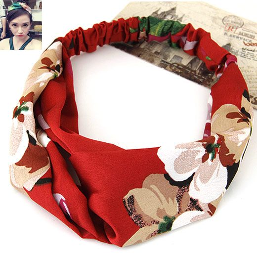 Korean  pastoral style floral yoga elastic headgear wide brimmed cloth hair bands / headdress NHNSC1718