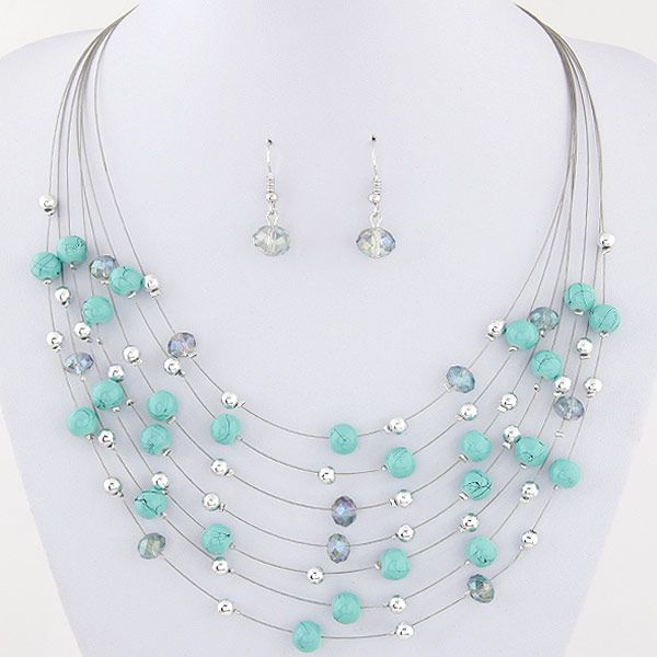 Korean   Bohemian Imitated crystal (Turquoise) mixed multilayer Necklace Earrings (Set) NHNSC2501