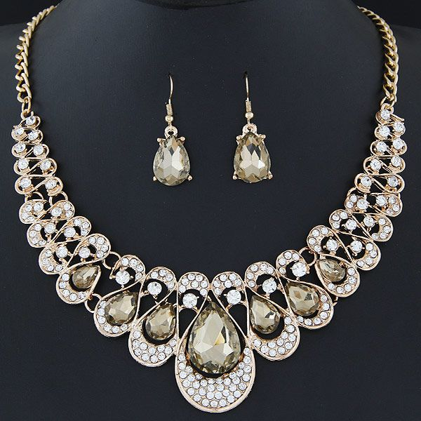 Occident and America gemstone metal collar Necklace Earrings Set NHNSC2529