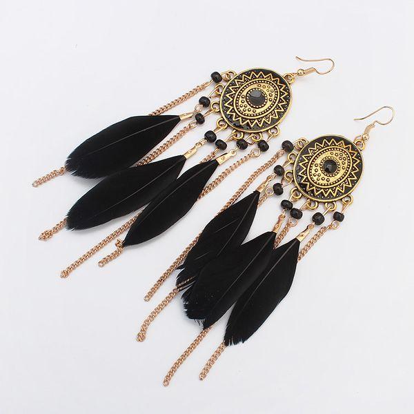 Occident fashion disc Earrings (Black) NHNPS0855